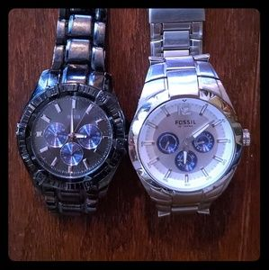 Black Guess Watch and Silver Fossil Watch